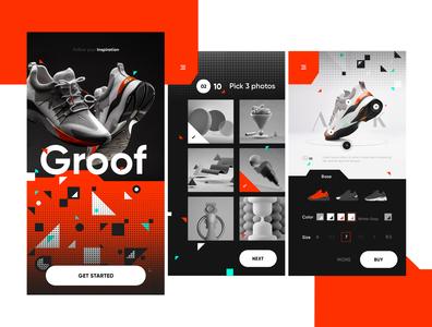 Shoe customization app ux design ui design ux application concept adidas nike shoe shop arkk shape ui design illustration 2d nortix shoe design shoe