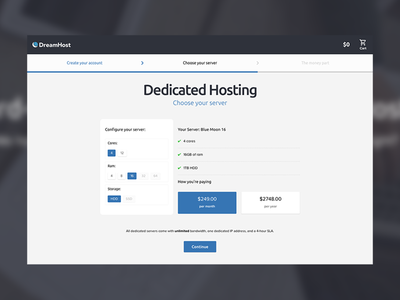 hosting configurator sign up proxima nova javascript configuration ui blues grey ubuntu dashboard