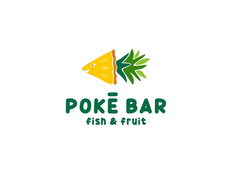 Poke Bar restaurant hawaii poke bowl poke bar happy green pinapple ocean fish sea illustration food sale logo sale design color dribbble logotype logo