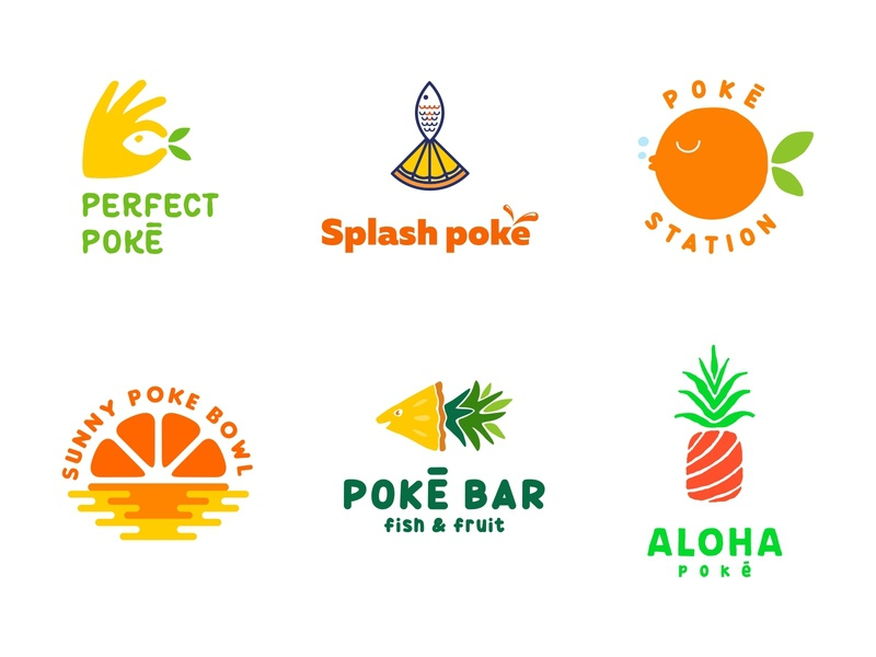 Poke collection hawaii seafood sea bar restourant fruit fish illustration food sale logo sale design color dribbble icon logotype logo