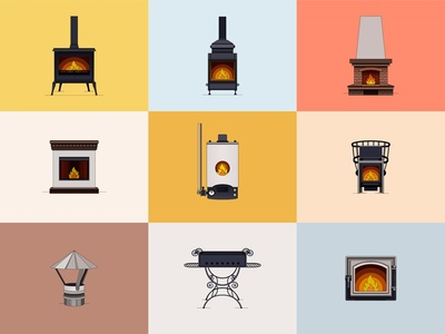 Icons fireplaces 🔥 icon score icon fire icon collection fire logo fireart icon illustration icon fire store vector line illustration design color dribbble icon logotype logo