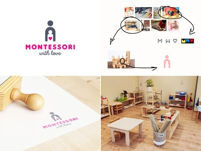 Montessori School children baby pink vector school montessori love montessori school branding color design dribbble icon logotype logo