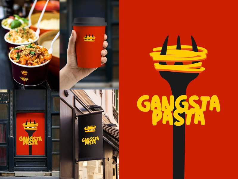 Gangsta pasta red gangsta pasta fork evil illustration food sale logo sale color design dribbble icon logotype logo