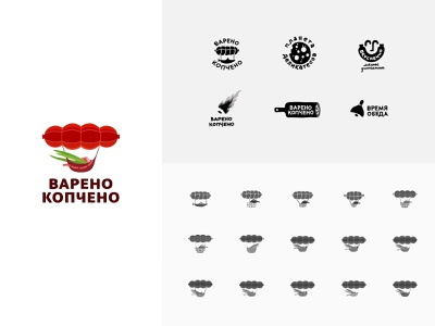 Deli meats red sausages meats meat bow airship food illustration color design dribbble icon logotype logo