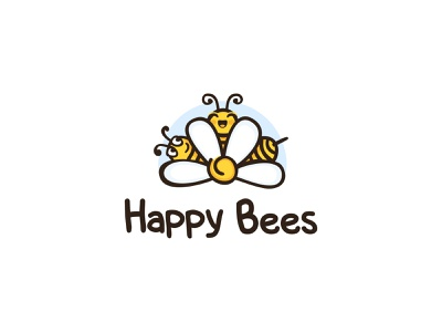 Happy Bees flowers happy xute bees bee illustration color design dribbble icon logotype logo
