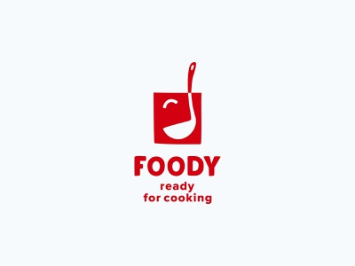 Foody ladle delivery happy face branding food illustration color design dribbble icon logotype logo