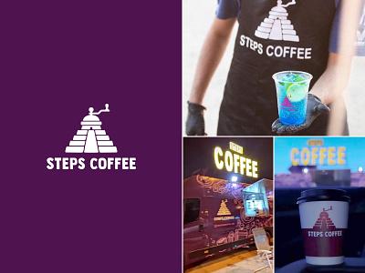 Steps coffee ☕ - logo in life coffe truck coffee shop truck cup coffee cup life coffee illustration color design dribbble icon logotype logo