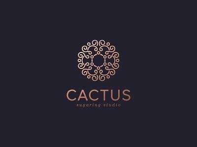 Shugaring studio monograms studio cactus royal emblem line illustration color design dribbble icon logotype logo