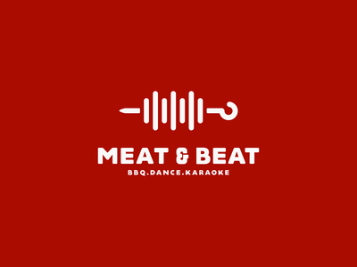 Meat & Beat food app skewers skewer karaoke dance bbq music beat meat food vector sale logo sale illustration color design dribbble icon logotype logo