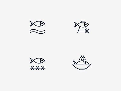 Icon fish smoked ice fresh shop seafood sea fish vector branding illustration design dribbble icon logotype logo
