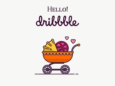 Hello Dribbble! hello dribbble baby stroller graphic icon vector invitation dribbble hello shot first debut