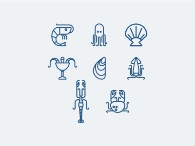 Icons for seafood crab langoustine calamar mussels octopus shrimp seafood sea line icon