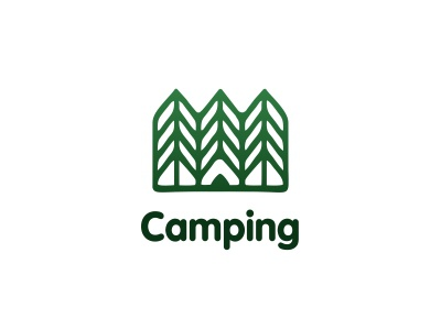 Logo Camping tent tree forest camping logo