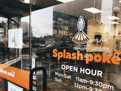 Splash poke restaurant signboard hawaii food logo