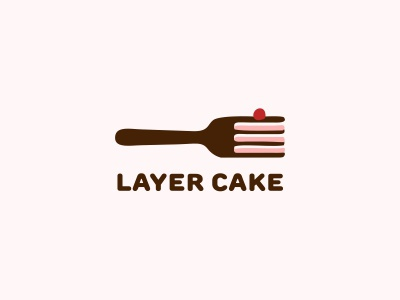 Layer cake logo fork food cherry cake