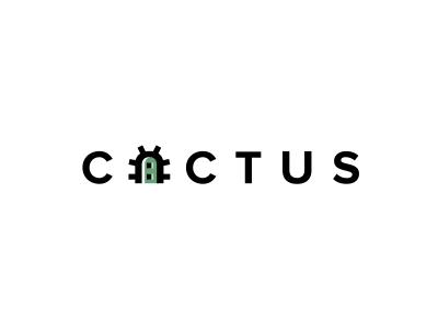 Cactus minimalism minimal flowers font letter logo cactus