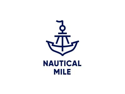 Nautical mile anchor icon ship boat mile logotype logo