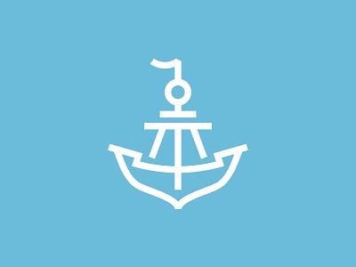 Anchor + ship food line vector dribbble fish ship anchor store sea logotype icon logo