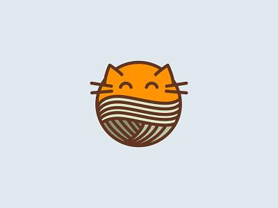 Cat knitting ball orange cats cat icon logotype logo