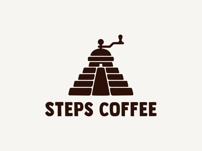 Steps coffee ☕ step dribbble design corn coffee house coffee grinder coffee logotype icon logo