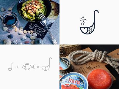 Fish store brand - logo in life 🐟 caviar sea food store seafood sea life scoop fish food logotype icon logo