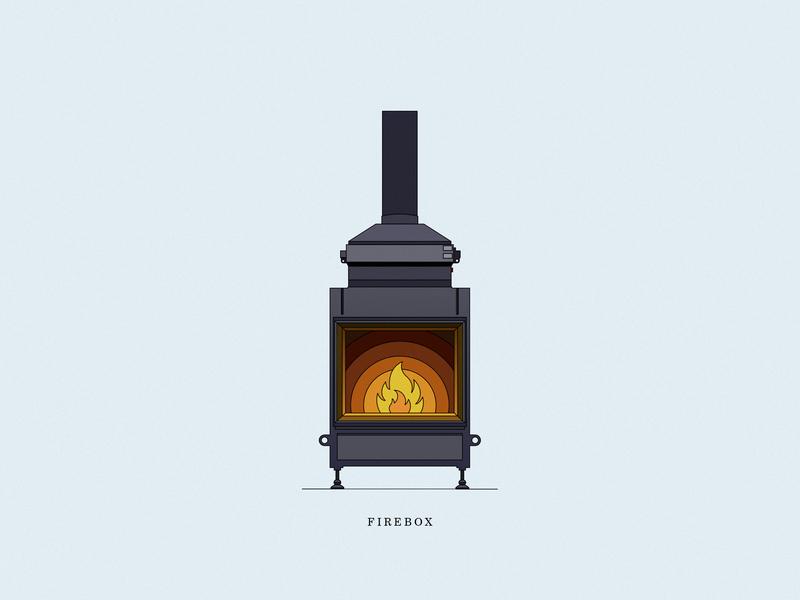 Firebox interior stove icons fire vector design store illustration color line dribbble icon
