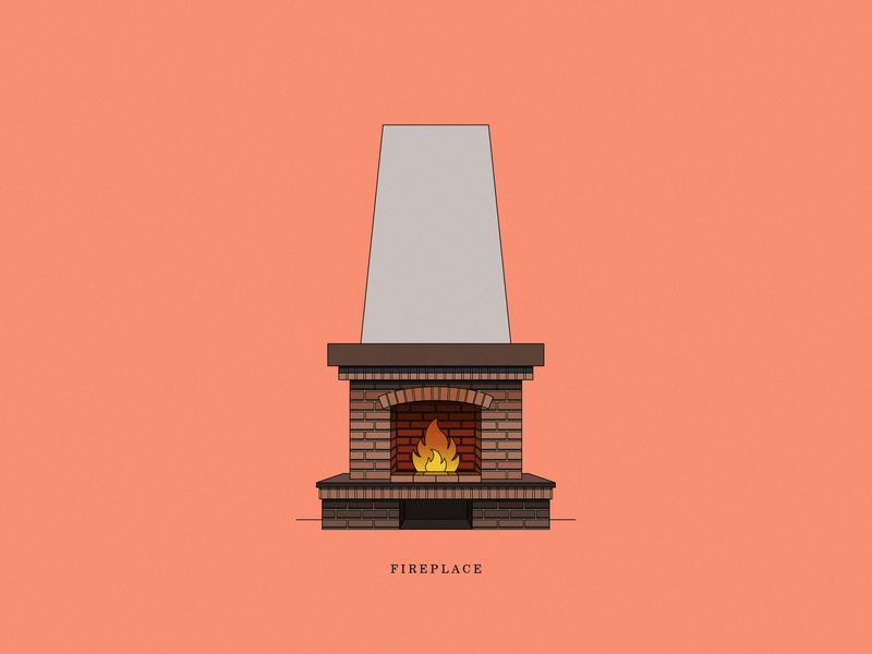 Fireplace brick line vector store interior illustrations illustration icon fireplace fire dribbble design color