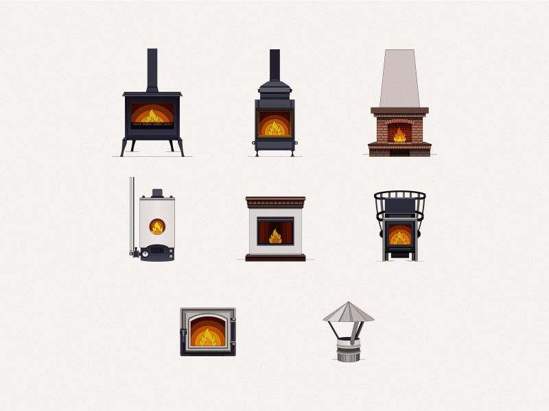 Icon set 🔥 interior fireplace icon set fire illustration vector design store color line dribbble icon