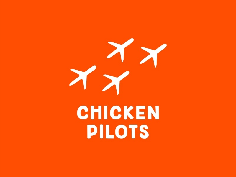 Chicken pilots ✈ branding dribbble cafe restaurant sky air aircraft pilots chicken sale logo sale food logotype logo
