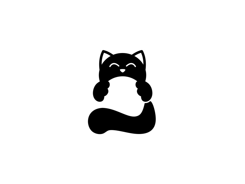 Cat clew ball black cat black cats cat vector branding illustration design dribbble logotype icon logo
