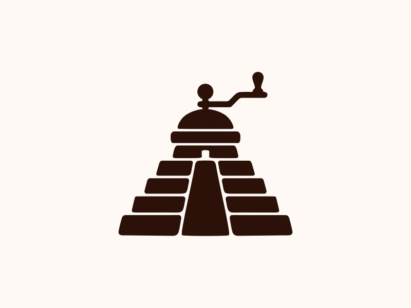 Steps coffee ☕ pyramid step coffee house coffee grinder coffee shop coffee branding vector design food dribbble logotype icon logo