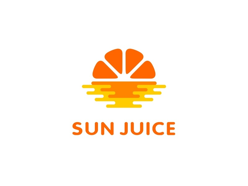 Sun Juice water sea juice orange sunset sun branding illustration design sale logo sale color dribbble logotype icon logo
