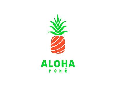 Aloha poke red fish aloha fruit pineapple sea fish branding store illustration design logo sale color sale food dribbble logotype icon logo