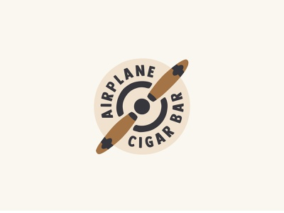 Airplane propeller cigars screw cigar bar airplane air branding illustration sale logo sale design color dribbble icon logotype logo