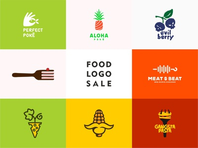 Food Logo Sale corn cheese pasta illustraion meat cake blueberries evil pineapple poke bowl fish line food sale logo sale design color dribbble logotype logo