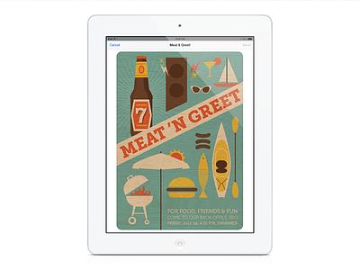 Meat 'n Greet evite illustration design