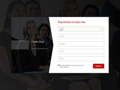 Registration for Open Day interface pt