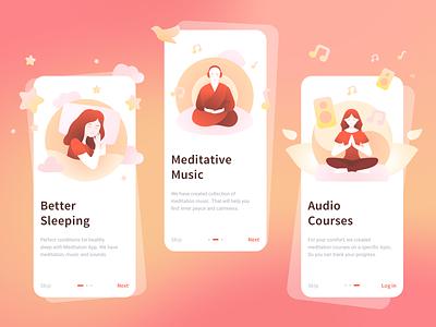 Onboarding pages for Meditation App onboarding trendy gradient ui illustration design