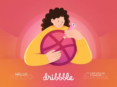 Hello, Dribbble! shot ui trendy gradient illustration design