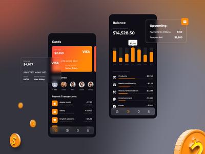 Dark Theme for Finance App glassmorphism finance sketch icon app shot 3d trendy gradient design ui  ux