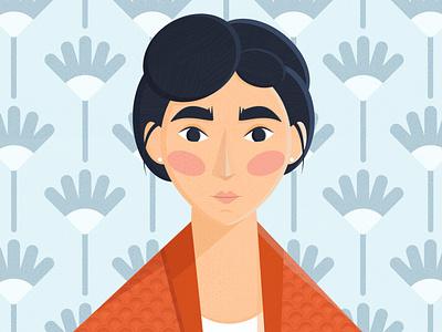 Girl in orange 🟧 texture pattern orange character flower illustrator flatdesign woman girl design illustration
