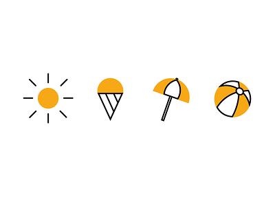Summer Icons - Design beachball beach umbrella icecream sun icons icon design summer