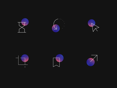 Revolve icons motion iconography icon set symbol benefits features revolve line gradient oval animation icon
