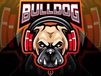 Bulldog wearing headphones esport mascot logo
