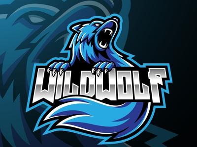 Wild wolf mascot logo design