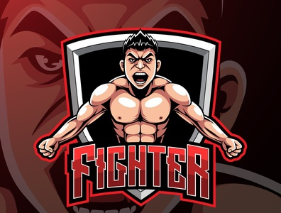 Fighter sport mascot logo design