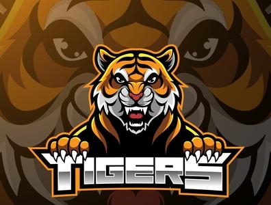 Tiger face mascot logo design