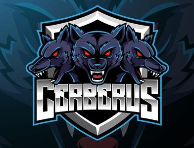 Three headed cerberus mascot logo design