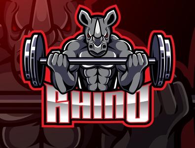 Rhino mascot gaming logo design