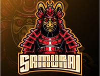 Samurai warrior mascot logo design
